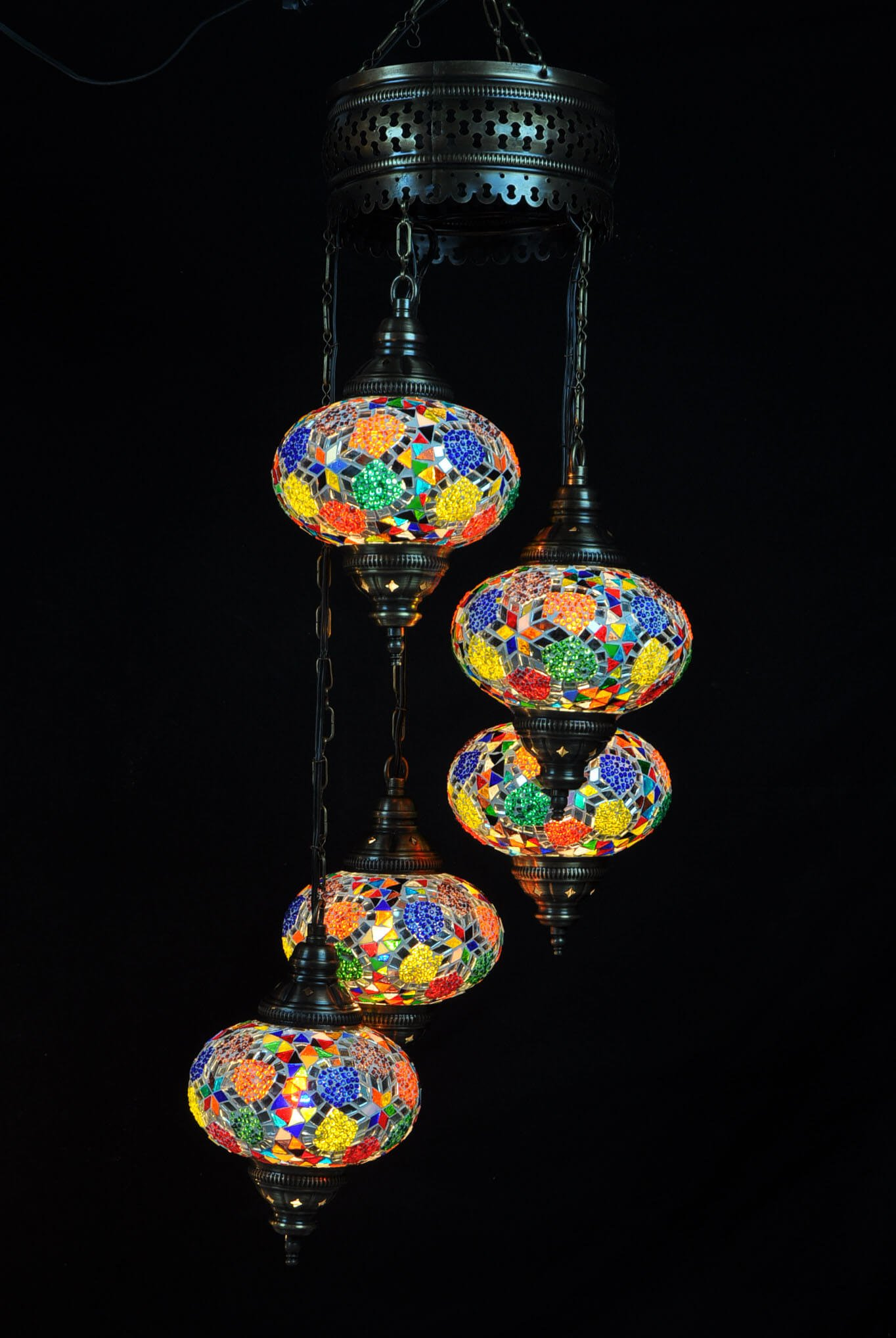 Turkish light multicolor 5 spheres - oriental-lights.com