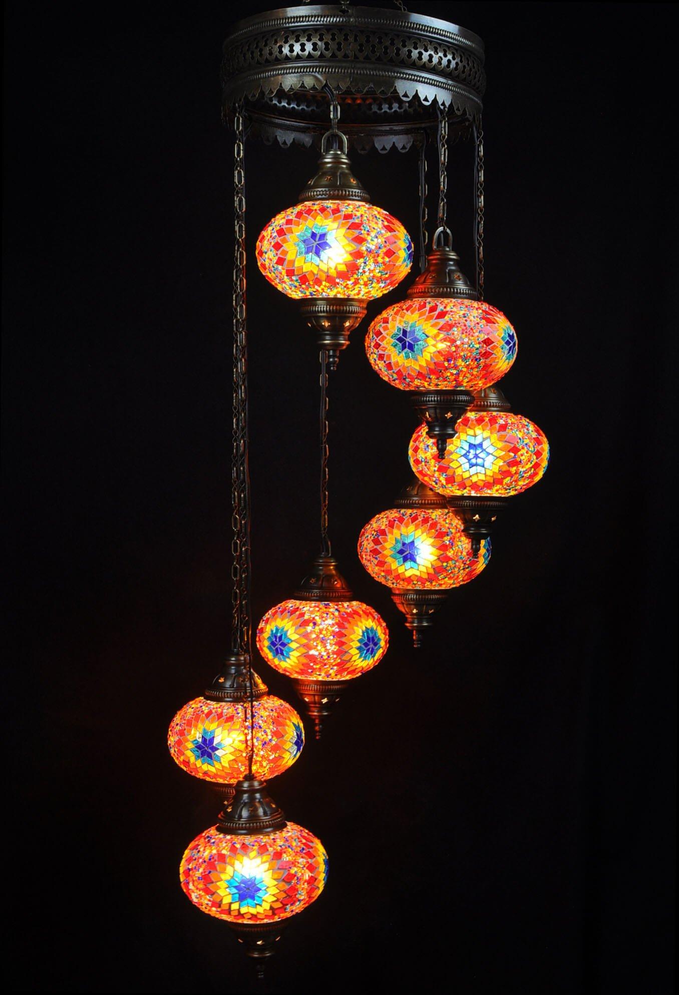 Oriental chandelier multicolor 7 spheres - oriental-lights.com