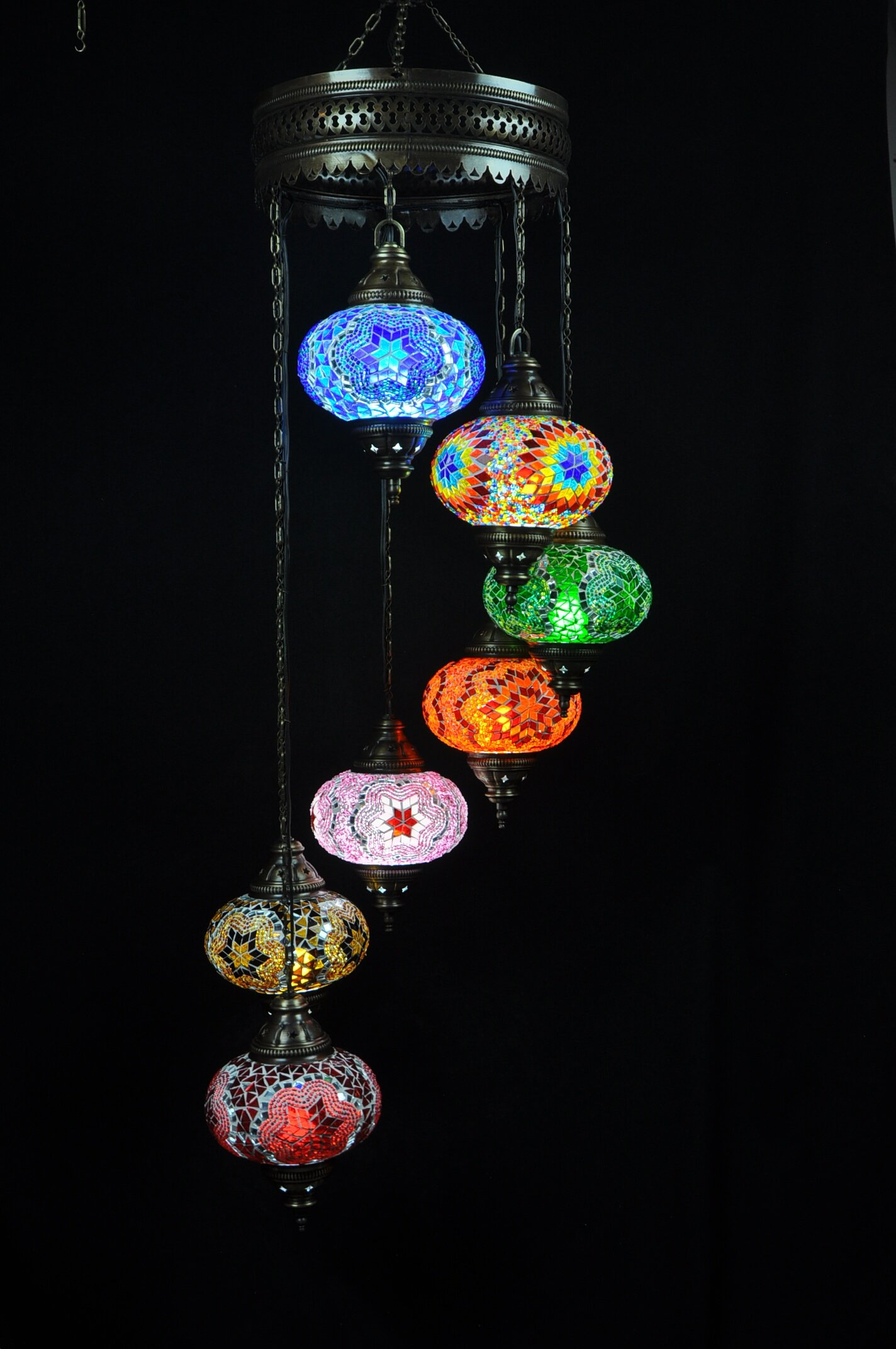 Oriental chandelier multicolors - oriental-lights.com