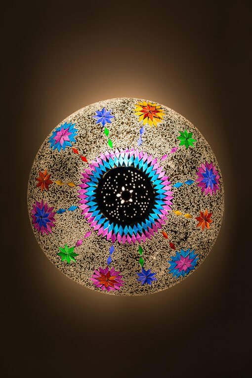 Oriental ceiling light multicolour mosaic Maroc.