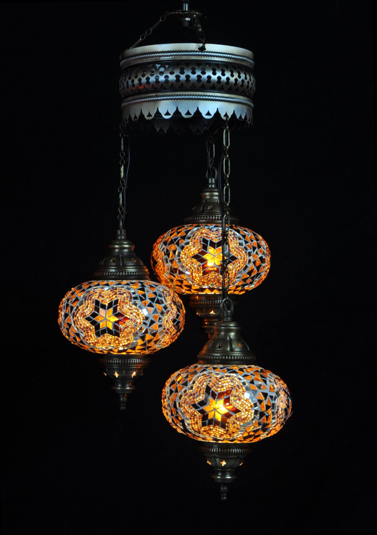 Turkish chandelier brown 3 spheres - oriental-lights.com