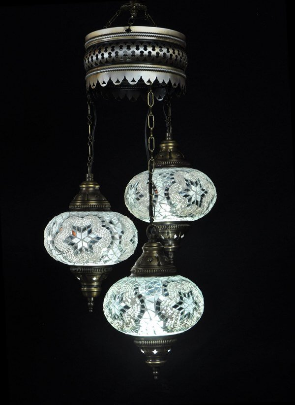 Turkish chandelier white 3 spheres - oriental-lights.com