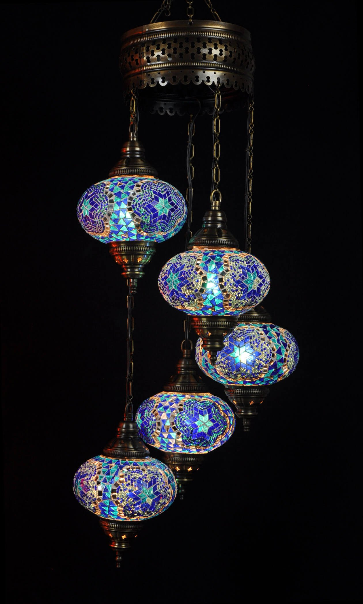 Turkish light blue 5 spheres - oriental-lights.com