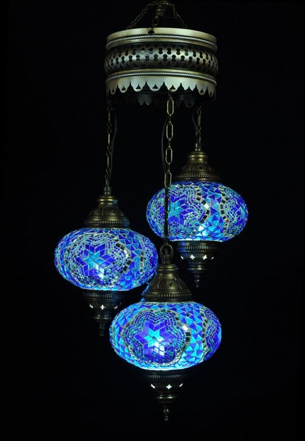 Turkish chandelier blue 3 spheres - oriental-lights.com