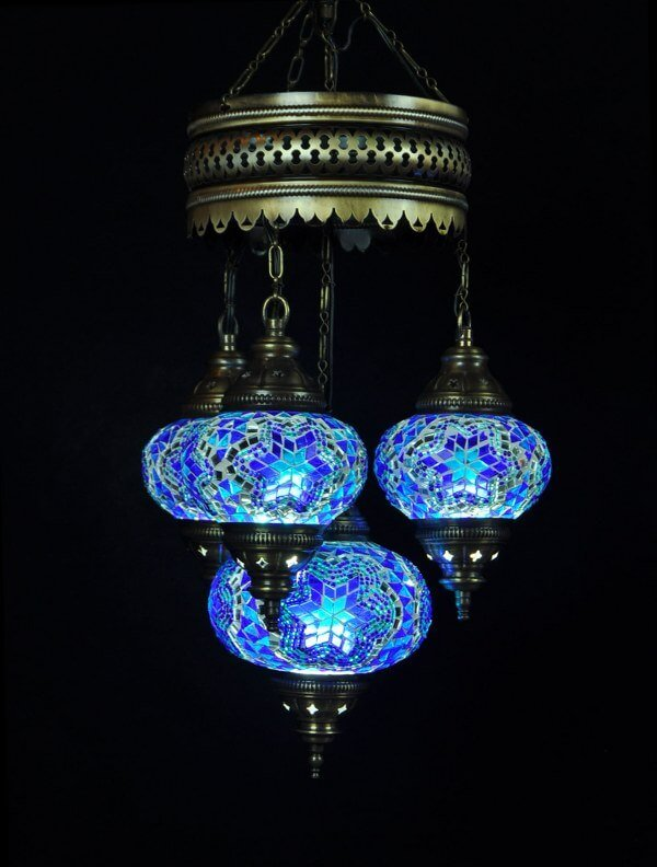Mosaic chandelier blue 4 spheres - oriental-lights.com