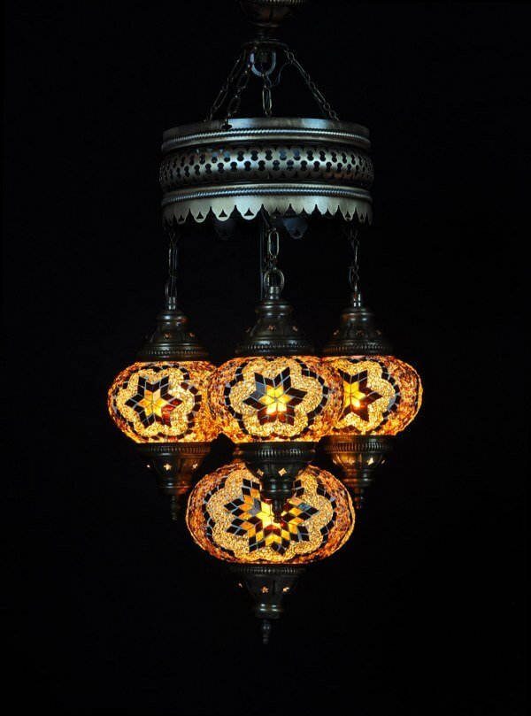 Mosaic chandelier brown 4 spheres - oriental-lights.com