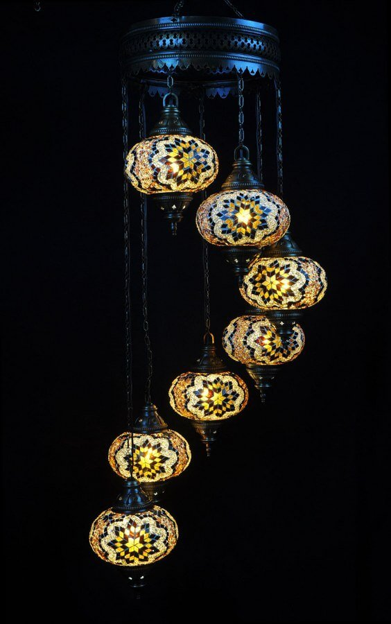 Oriental light brown 7 spheres - oriental-lights.com