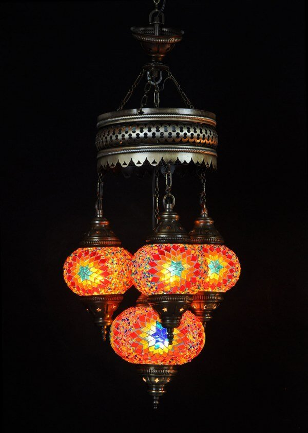 Mosaic chandelier multicolor 4 spheres - oriental-lights.com