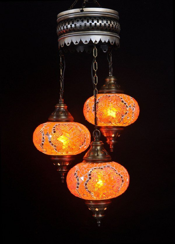 Turkish chandelier orange 3 spheres - oriental-lights.com