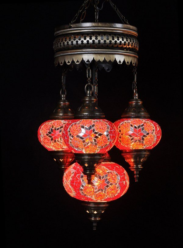 Mosaic chandelier red 4 spheres - oriental-lights.com