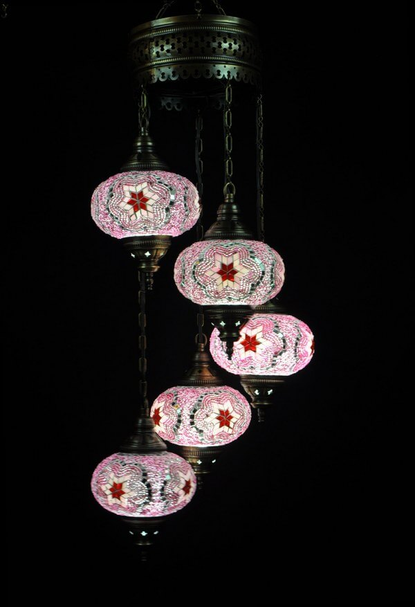 Turkish light pink 5 spheres - oriental-lights.com