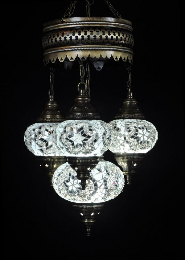 Mosaic chandelier white 4 spheres - oriental-lights.com