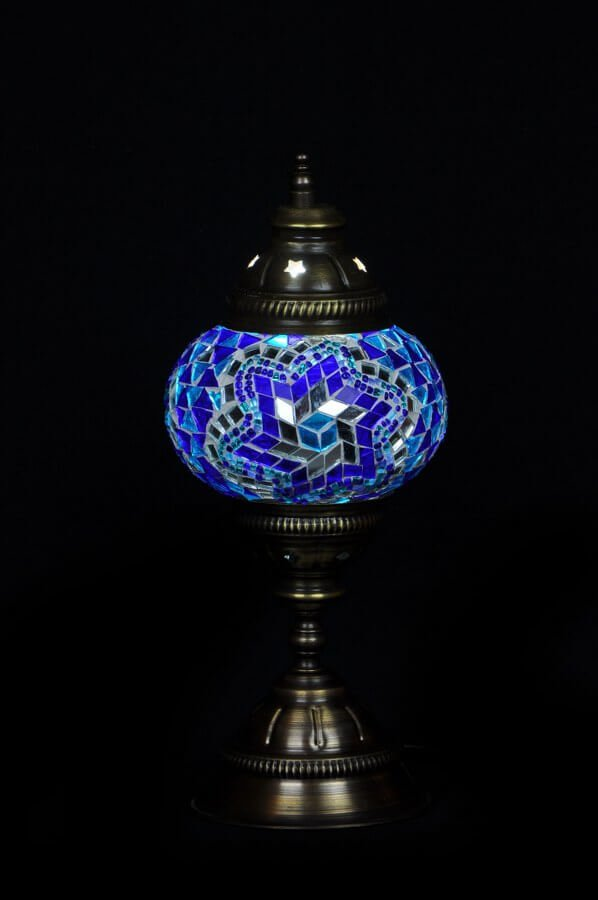 Mosaic table lamp blue - oriental-lights.com