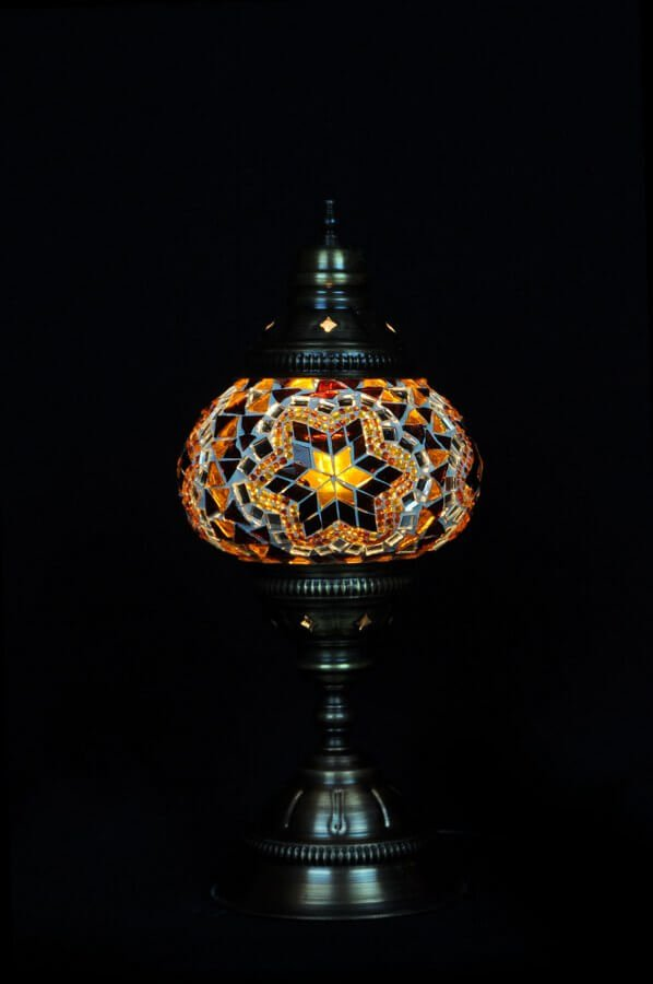 Mosaic table lamp brown - oriental-lights.com
