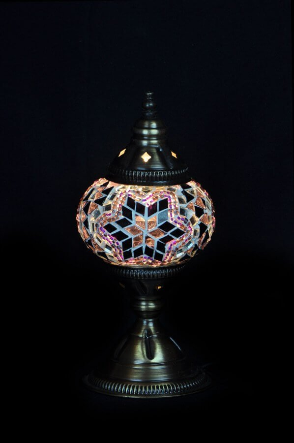 Mosaic table lamp purple - oriental-lights.com