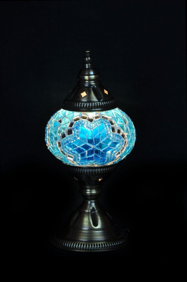 Mosaic table lamp turquoise - oriental-lights.com