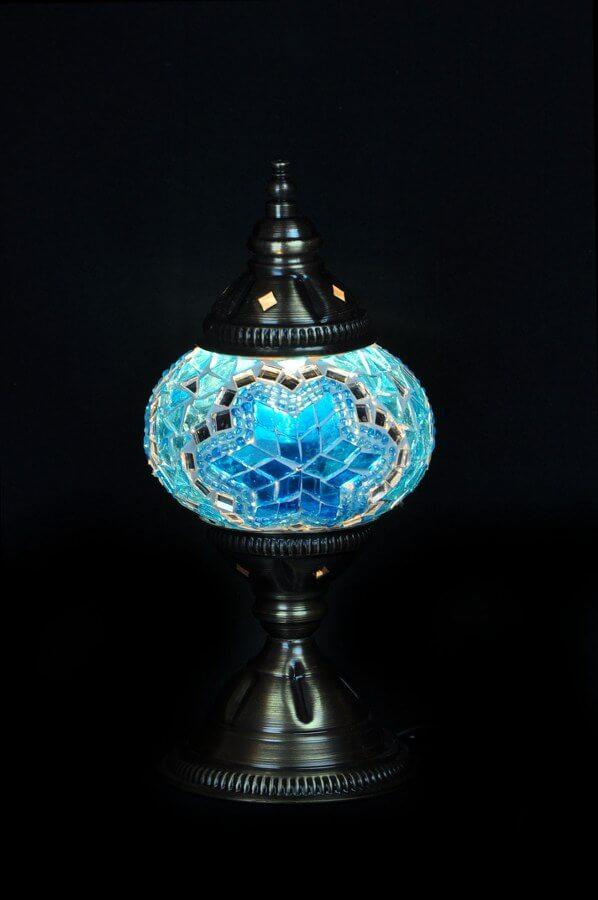 Mosaic table lamp turquoise - oriental-lights.com