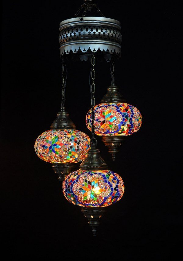 Turkish chandelier multicolor 3 spheres - oriental-lights.com