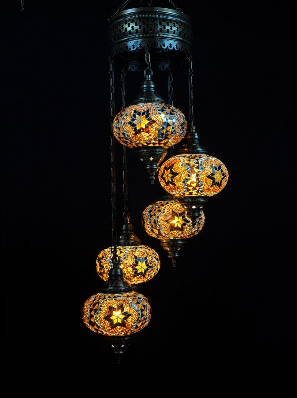 Turkish light brown 5 spheres - oriental-lights.com