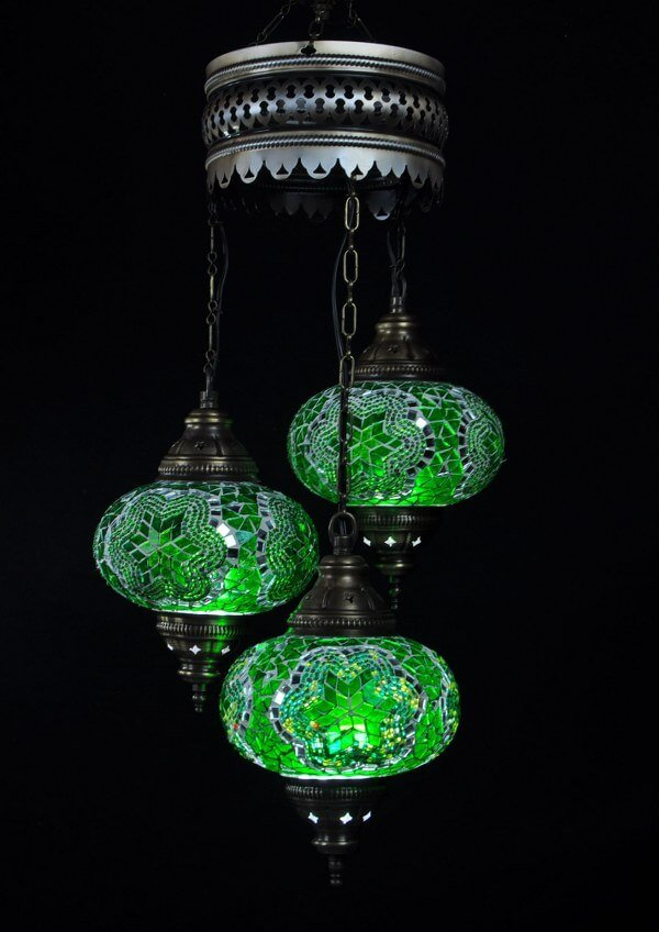 Turkish chandelier green 3 spheres - oriental-lights.com