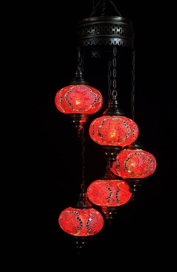 Turkish light red 5 spheres - oriental-lights.com
