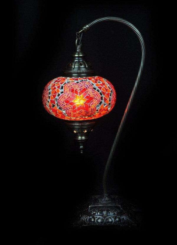 Orange Turkish table lamp - oriental-lights.com