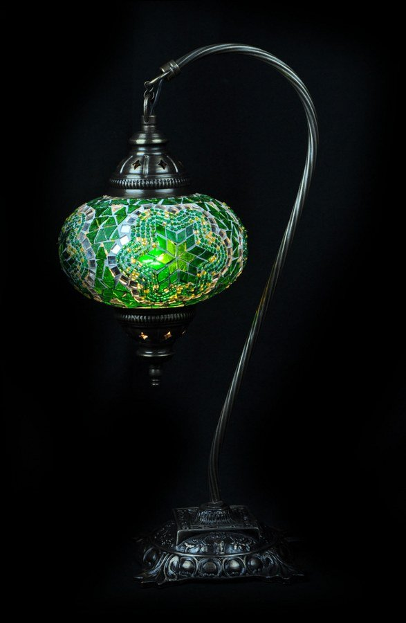 Green Turkish table lamp - oriental-lights.com