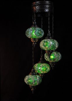 Turkish light green 5 spheres - oriental-lights.com