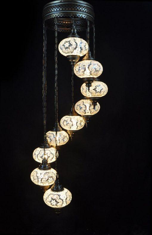 Turkish chandelier white 9 spheres - oriental-lights.com