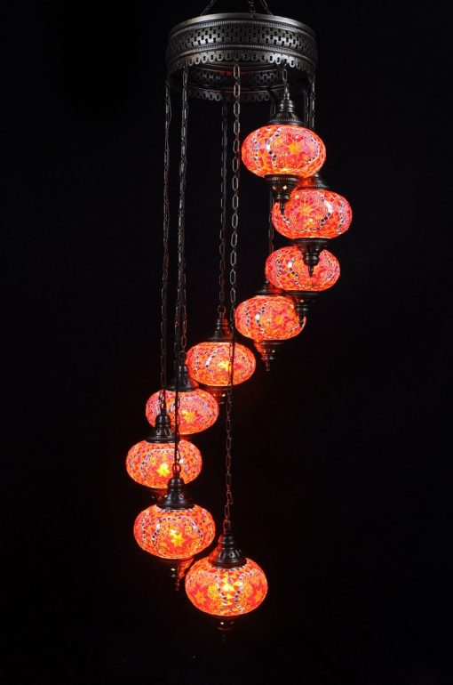 Turkish chandelier orange 9 spheres - oriental-lights.com