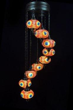 Turkish chandelier multicolour 9 spheres - oriental-lights.com