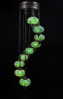 Turkish chandelier green 9 spheres - oriental-lights.com