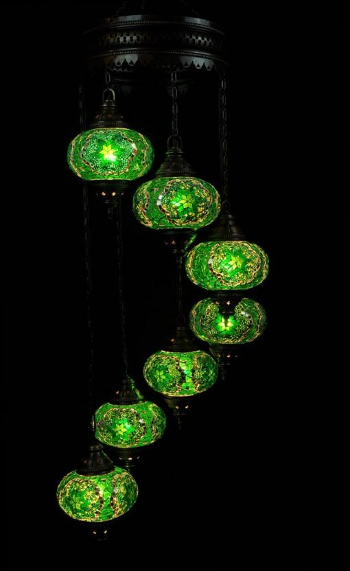 Oriental light green 7 spheres - oriental-lights.com