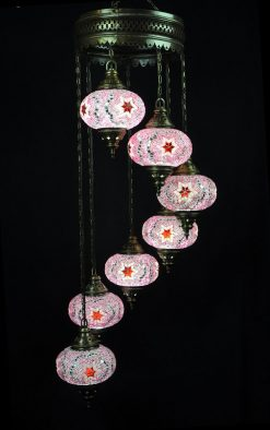 Turkish light pink 7 spheres - oriental-lights.com