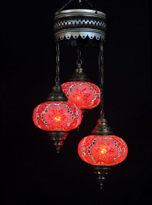 Turkish chandelier red 3 spheres - oriental-lights.com