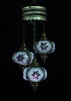 Turkish chandelier purple 3 spheres - oriental-lights.com