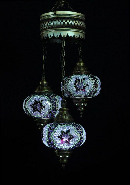 Turkish chandelier purple 3 spheres - oriental-lights.com