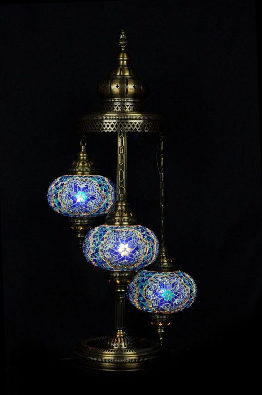 Turkish floor lamp blue 3 spheres - oriental-lights.com