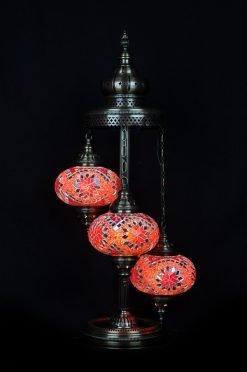 Turkish floor lamp red orange 3 spheres - oriental-lights.com