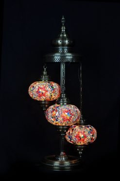 Turkish floor lamp multicolour 3 spheres - oriental-lights.com