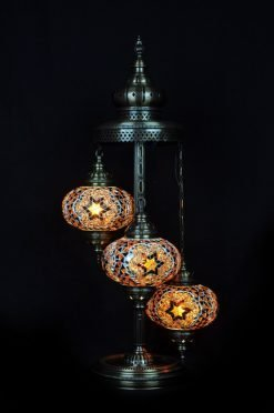 Turkish floor lamp brown 3 spheres - oriental-lights.com