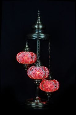 Turkish floor lamp red 3 spheres