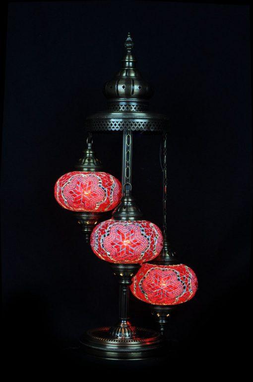 Turkish floor lamp red 3 spheres