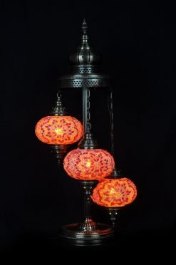 Turkish floor lamp orange 3 spheres - oriental-lights.com