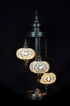 Turkish floor lamp white 3 spheres - oriental-lights.com