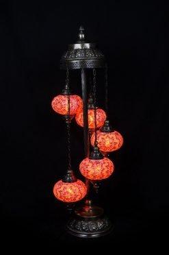 Turkish floor lamp orange 5 spheres - oriental-lights.com