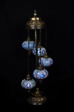 Turkish floor lamp blue 5 spheres - oriental-lights.com