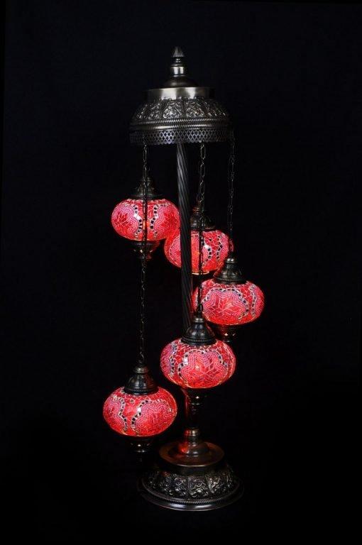 Turkish floor lamp red 5 spheres - oriental-lights.com