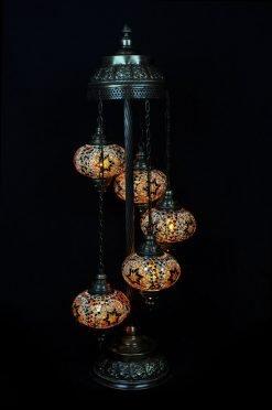 Turkish floor lamp brown 5 spheres - oriental-lights.com