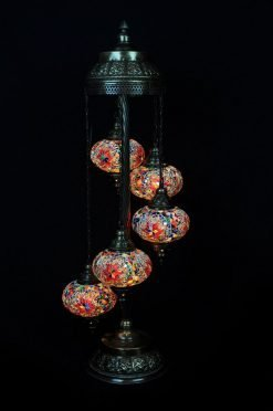 Turkish floor lamp multicolour 5 spheres - oriental-lights.com
